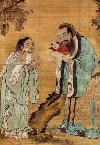 Confucius présentant le Bouddha Gautama à Lao Tseu