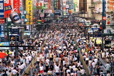 Marée humaine dans les grands boulevard de Pékin