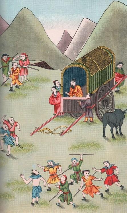 Les habitants de Koang veulent tuer Confucius, qu'ils prennent pour le brigand Yang-houo.