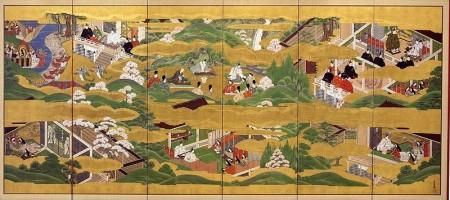 Scènes narrant l'histoire de Genji monogatari